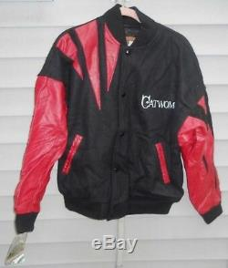 1992 Batman Returns CATWOMAN Cast & Crew Embroidered LEATHER JACKET Witty Sz L/G