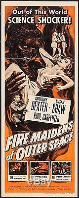 FIRE MAIDENS OF OUTER SPACE original 1956 INSERT MOVIE POSTER 14 X 36 SCI-FI