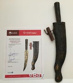 Indiana Jones Kotcs Used Prop Knife & Scabbard Coa Signed By Harrison Ford