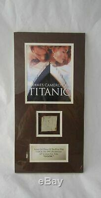 James Cameron's Titanic 1997 Blockbuster Film -prop From Movie Framed With Coa