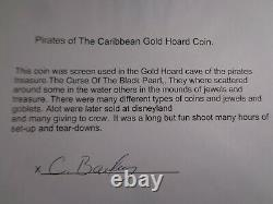 PIRATES OF THE CARIBBEAN Authentic Official FILM PROP GOLD HOARD COIN & CRT