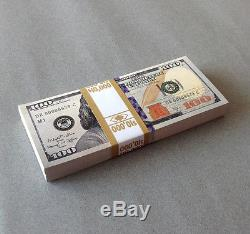 PROP MONEY New Style 1 Sided $100 Full Print Stack for Movie, TV, Video, Novelty