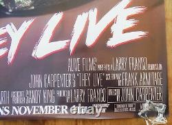 They Live (1988) Original Movie Poster Rolled Rare Wild Posting Oversize